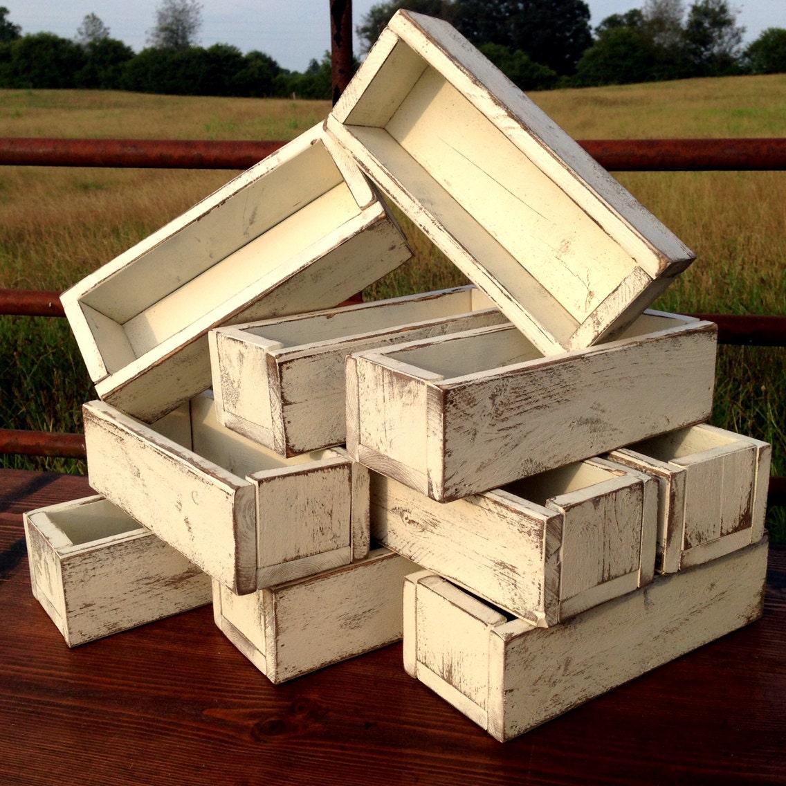 Wedding Centerpiece Set Of 10 Planter Box Distressed