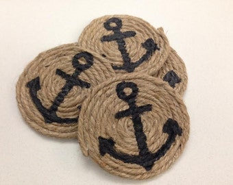 Nautical Rope Coasters, with Anchor Silhouette! Set of 4
