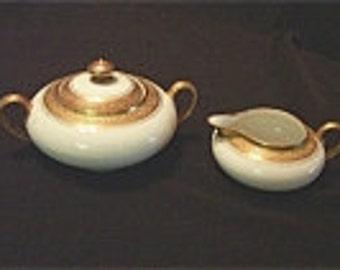 Reduced: Vintage Antique  LAVIOLETTE Limoges Pattern LAV6  Ivory and Gold Band Sugar and Creamer