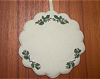 Vintage Pair Christmas Holiday Ivory Holly Embroidered Potholders by W C Imports. Inc.