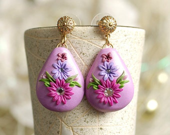 Bright Pink Earrings, Hot Pink Earrings, Elegant Earrings, Gold Drop Earrings, Filigree earrings, Polymer Clay Earrings, Dangle Earrings