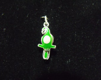 Sterling Silver Parrot with Green and Pink epoxy 3-D Charm  - .925  3.3 grams