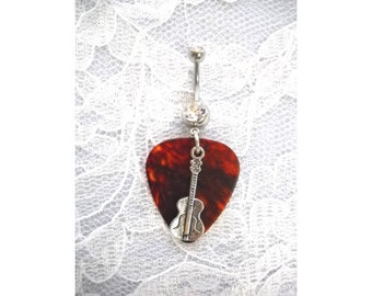 Dark BROWN Tortoise Shell Real Guitar Pick & Silver Alloy Classical GUITAR Charm on 14g Dazzling Double Clear CZ Belly Ring Navel Barbell