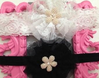 Baby white and black lace headband-- newborn rhinestone lace headband