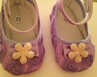 Purple/ lavender baby rosette satin shoes--purple crib shoes--newborn rosette shoes
