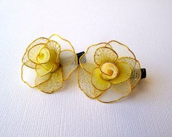Pair of  Pastel Yellow Rose Hair Clips