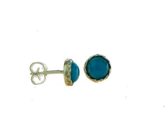 Stud earrings made in sterling silver with gemstone Turqouise.