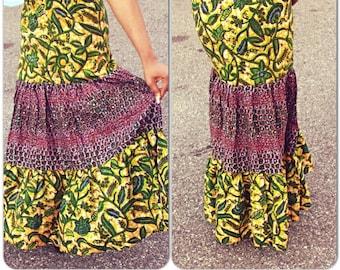 Ankara Patchwork Skirt/ African Print Skirt/ Patchwork Skirt/Gypsy Skirt/African Print Maxi Skirt/Tiered Skirt/ Tribal a Skirt/Peasant Skirt