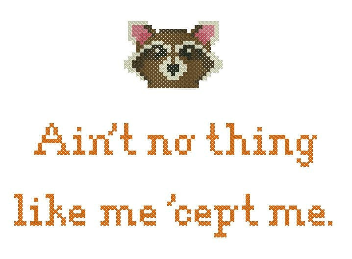 Rocket Raccoon: Ain't No Thing Like Me Cross Stitch