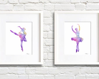 Ballet Dance Art - Set of 2 Ballet Dancer Art Prints - Watercolor Painting - Wall Decor