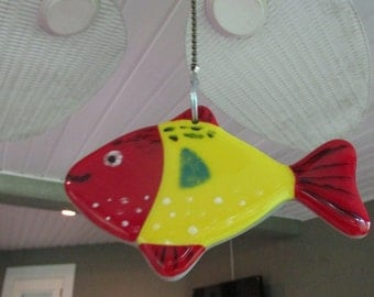 Stained Glass Suncatcher Fish Fused