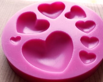 heart silicone mold - 7 cavities