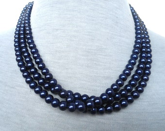 Navy Blue Pearl Necklace,Triple Strands Pearl Necklace,Wedding Jewelry,18 Inches Glass Pearl Necklace,Bridesmaid necklace,Pearl Necklace