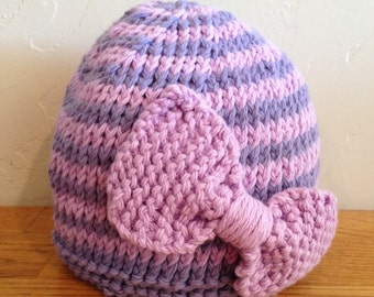 Knit Hat with Bow