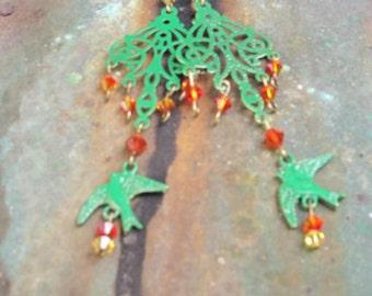 Hand painted chandelier earrings