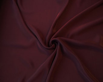 CLEARANCE - 30% OFF - 4-ply Silk Crepe Fabric by the Yard- Blackberry Wine  // Aubergine SIlk Crepe