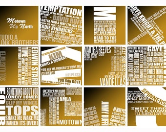 "Typographic Rectangle Design ""Motown Up North"" Wall Decor Poster Various Sizes"