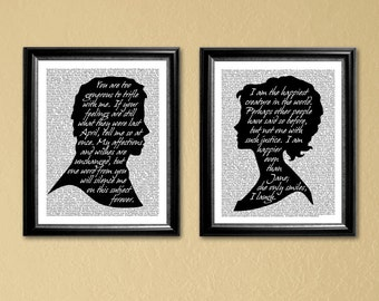 Pride and Prejudice, 2-8x10 or 2-11x14 in printables of Elizabeth and Darcy silhouettes (Instant Download-Printable)