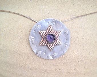 Handmade  Star of David necklace , Jewish Jewelry ,  sterling silver star , Magen David pendant ,  gold filled star of david