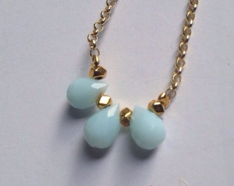 Delicate Dyed Jade Teardrop Necklace - Robins Egg Blue
