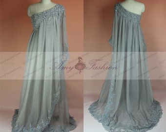 Grecian Style One Shoulder Beaded Lace Custom Gray Prom Dresses,Formal Gray Dress Sleeves,Long Grey Gown,Prom Dress,Chiffon Evening Dress