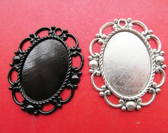 20mmx28mm Pendant Tray, Bezel Setting, 20mmx28mm Cabochon Tray - Antique Bronze,Antique Silver