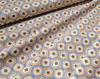 Riley Blake ONE FOR the BOYS by Zoe Pearn c-3171 Orange Navy Blue Cream Stars Damask by the yard