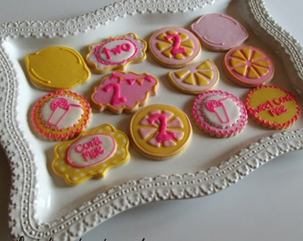 1 dozen Pink Lemonade Theme Sugar Cookies!