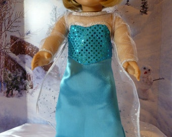 "Elsa 18"" Ice  Princess doll dress.  Sequin top, satin lined skirt with train.  Organza long train with shining stars."