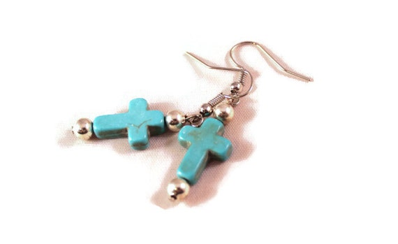 Turquoise Howlite Cross Earrings with Silvertone Beads -  Handmade Earrings; Handcrafted Jewelry; Upcycled Jewelry; Recycled Jewelry