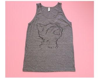 Kitty Cat Heather Grey Screenprinted Tri-blend Tank Top