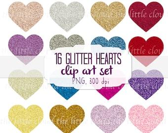16 glitter hearts clip art - high resolution quality clip art set