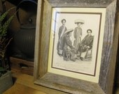Antique Costume Print - Annamites-Vietnam- Reclus -1883 Framed in Reclaimed Wood
