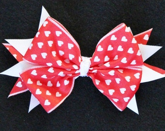 Heart Red and White Valentine's Day Stacked Boutique Hair Bow