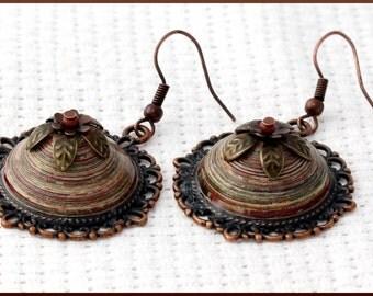 Handmade dangle earrings, paper cabochons earings, eco friendly, boho style, gift, gorgeous earrings