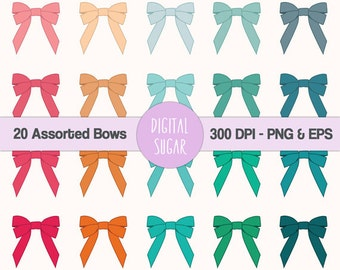 Digital Bow Clipart, Assorted Ribbon Clip Art Vector, Printable Scrapbook Clipart for Commercial Use