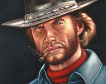 Clint Eastwood badass cowboy legend black velvet oil painting handpainted signed art