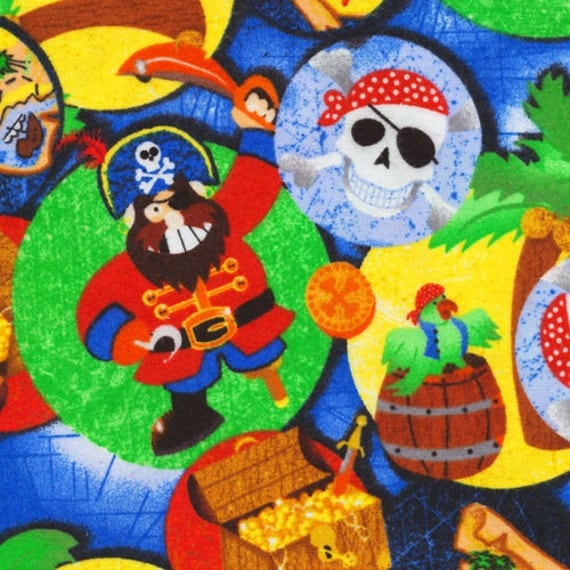 fun pirate kids print fabric bright colors by baytowntreasures
