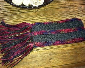 Gorgeous Thin Multi-color Striped Crochet Scarf - One Of A Kind