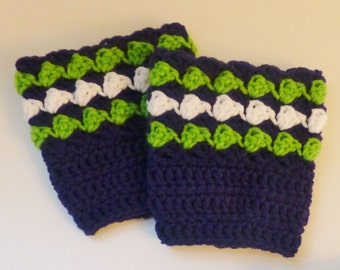 Hand Crocheted Seattle Seahawks Inspired Boot Cuffs Boot Toppers