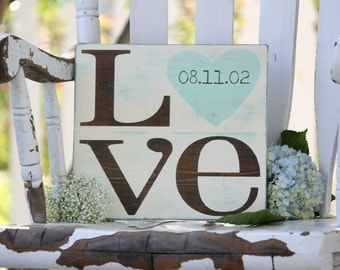 """Wedding date sign, LOVE sign, Hand painted wood sign, Great wedding gift or Anniversary gift,  Measures 11"""" x 12"""""""