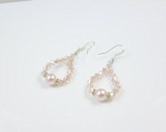 Pink Crystal Earrings, Pink Pearl Earrings, Sterling Silver Dangle Earrings
