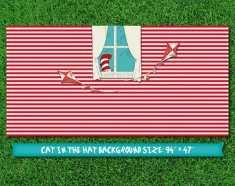 Cat in the Hat dessert table party backdrop (digital file)