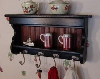 "24"" Handcrafted MILK PAINT Wood Coat Rack, Display Wall Shelf Key Hooks Black"