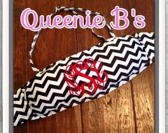 Black and White Chevron Monogram Bandeau Swimsuit Top