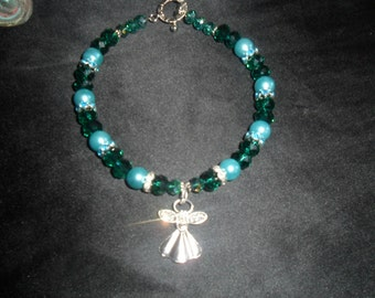 AngelMoon Creations - Crystal Glass Beads & Pearls with Antiqued Silver Finished Angel - AM 04