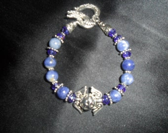 Healing Stone Bracelet- Semi Precious Sodalite Beads and Crystal Glass Beads with Vintage Tibetan Silver Bead - HEAL-013