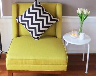 Black Chevron Linen Print Cushion Cover Zig Zag Design