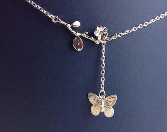 Branch and Flower Necklace with Butterfly
