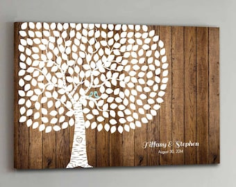 CANVAS Wedding Guest Book Wood - 250 Guests - Tree Wedding Guestbook Canvas Alternative Guestbook Canvas Wedding Guestbk - Wood design